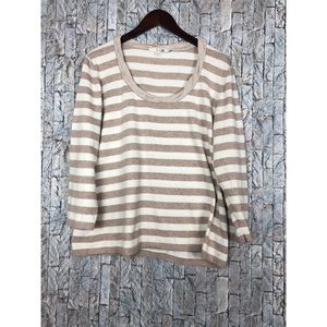 Boden Beige and White Stripe Sweater Top